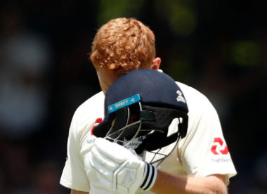Jonny Bairstow celebrates century by head-butting helmet