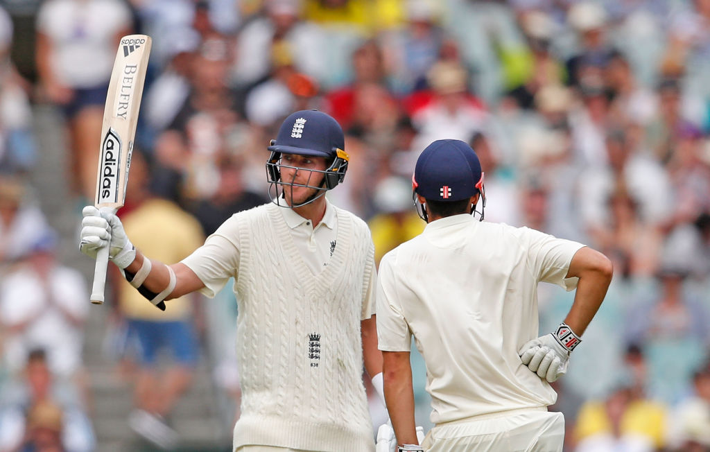 Stuart Broad of England celebrates his half century during day three of the Fourth Test