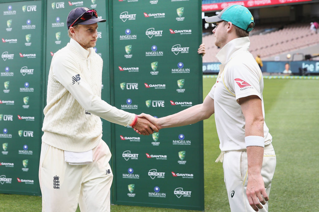 Steve Smith and Joe Root Ashes