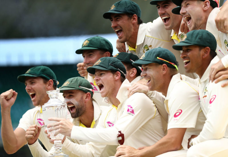 Australia celebrate winning the Ashes