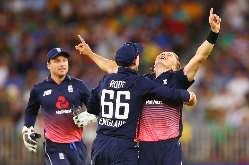 Tom Curran celebrates his match-winning wicket in Perth
