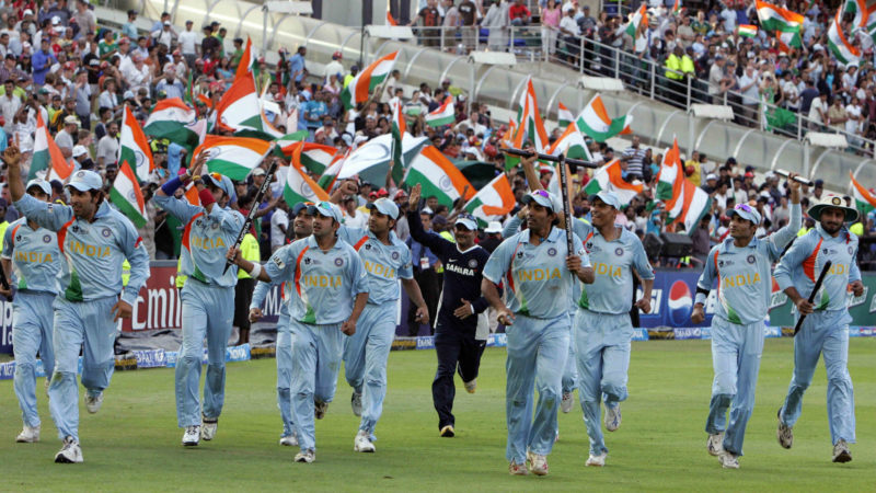 Lalchand Rajput (in the background) was the cricket manager of the Indian team that won the World T20 in 2007