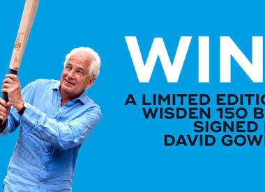 Win! Wisden 150 bat signed by David Gower