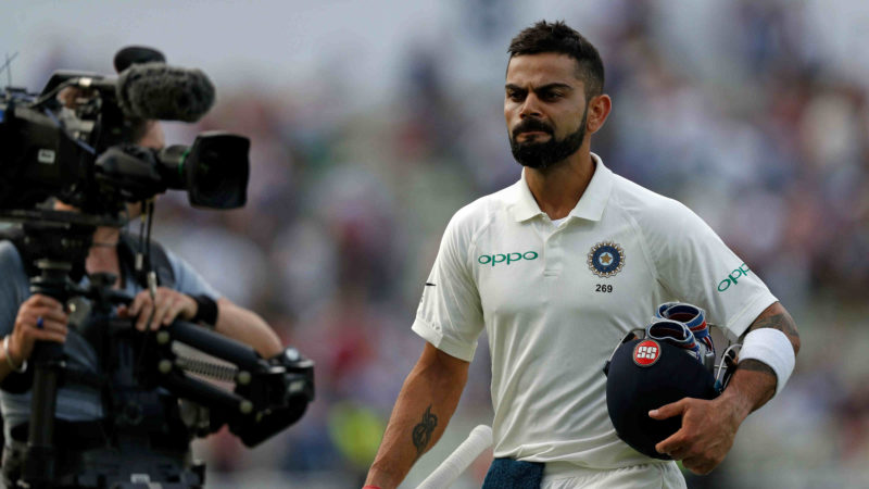 Kohli, after scoring 149 in the first innings, is unbeaten on 43 in the second