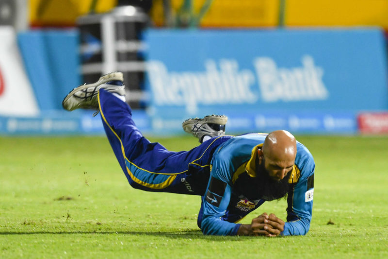 Amla sustained a finger injurywhile fielding during the Caribbean Premier League