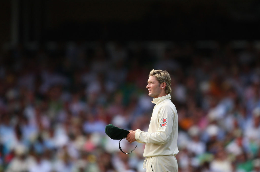 Michael Clarke took three wickets in five deliveries to ensure Australia won a 16th consecutive Test