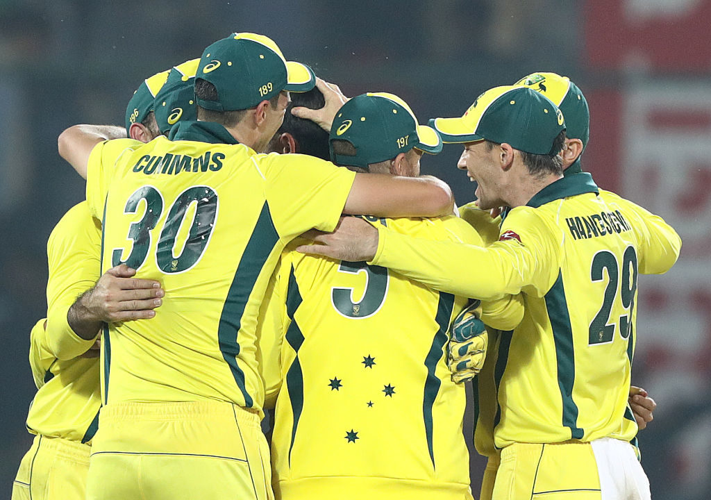 Australia head in after a comeback 3-2 victory in India