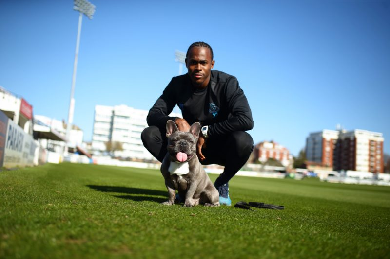 Jofra Archer with Chris Jordan's dog Griffin