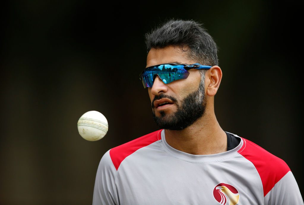 <em>UAE bowler Ahmed Raza is giving Australia a taste of left-arm spin</em>