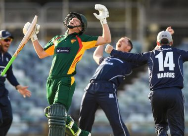 Tasmania lose five wickets for three runs in stunning batting collapse