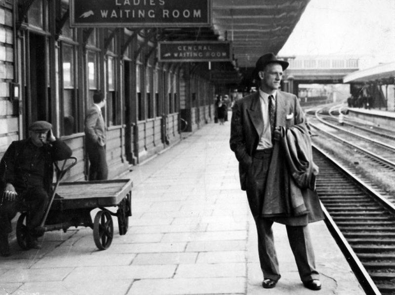 Frank Tyson photographed at Northampton station before the 1954-55 Australia tour