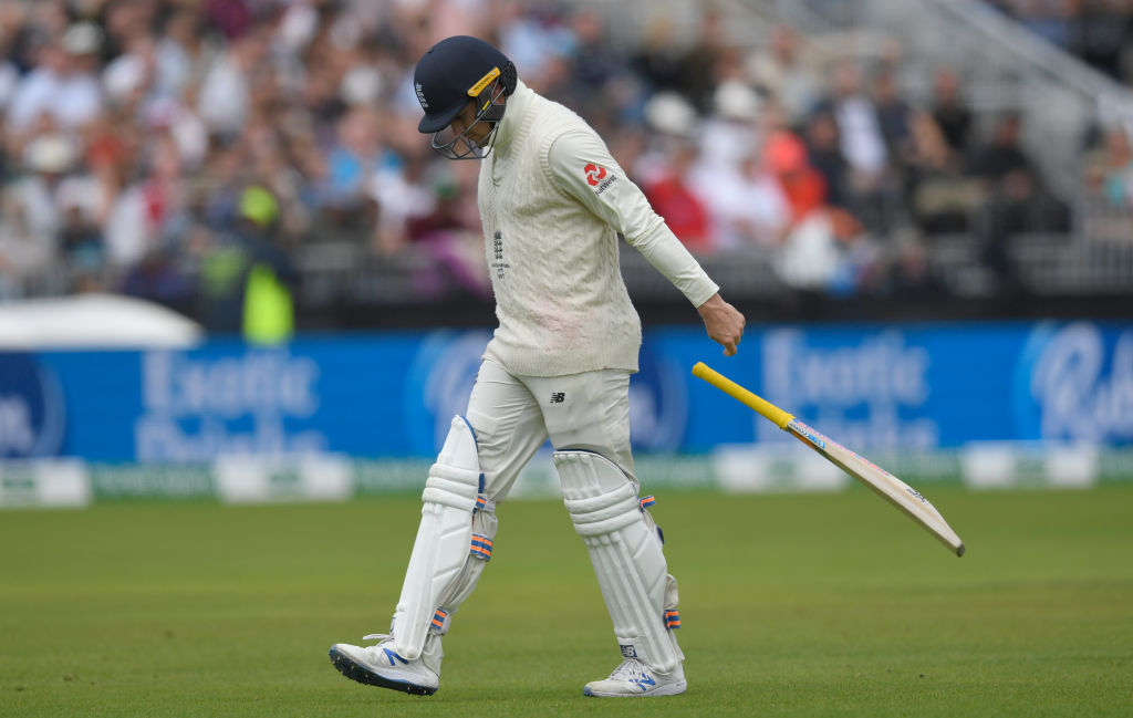 Roy loses control of his bat after thudding it into his pads