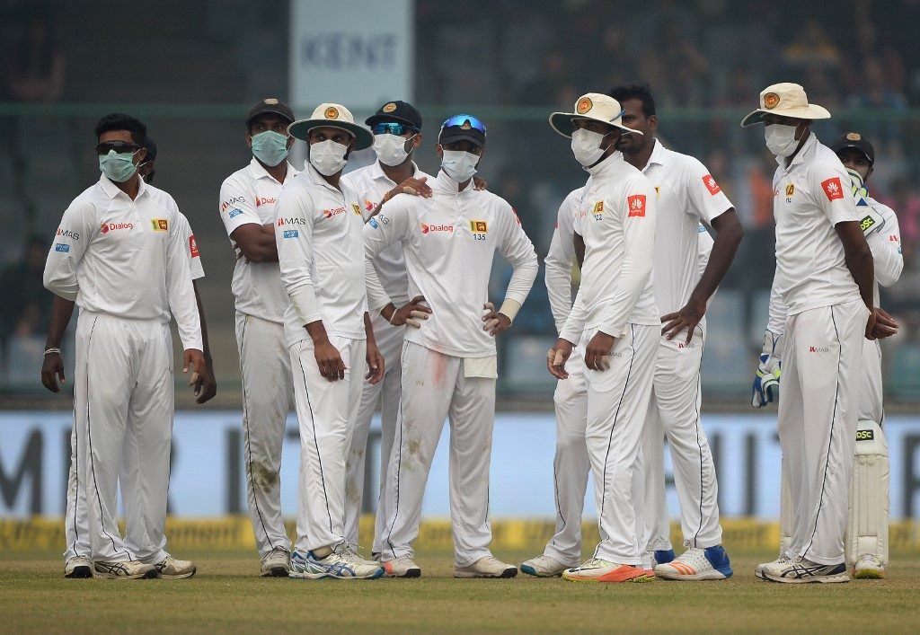 Sri Lanka players wore protective masks during the Delhi Test against India in 2017