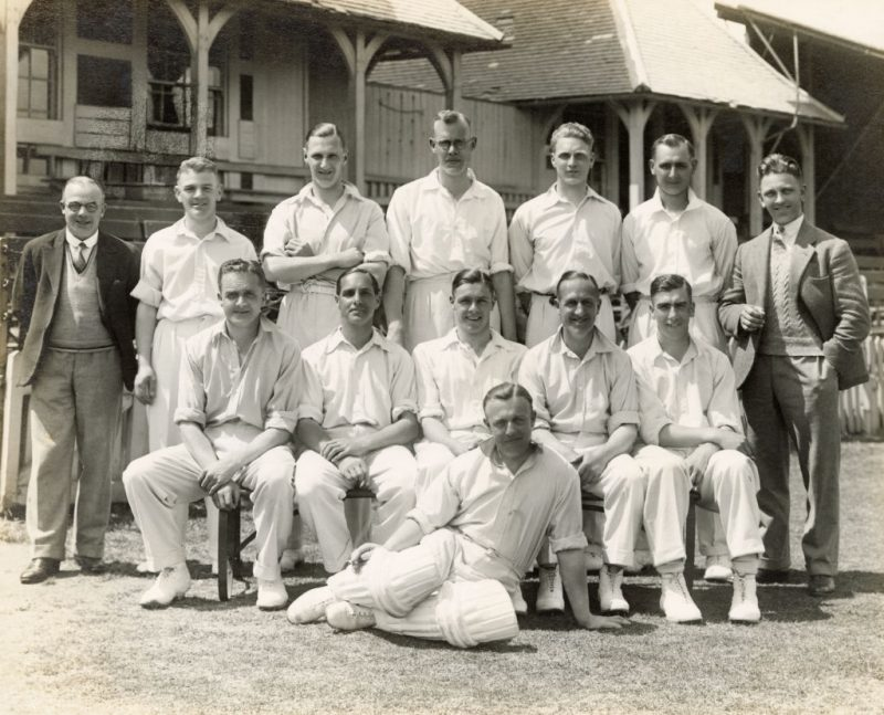 Herbert Sutcliffe and Percy Holmes, seated either side of Brian Sellers in the middle in Yorkshire's side of 1932