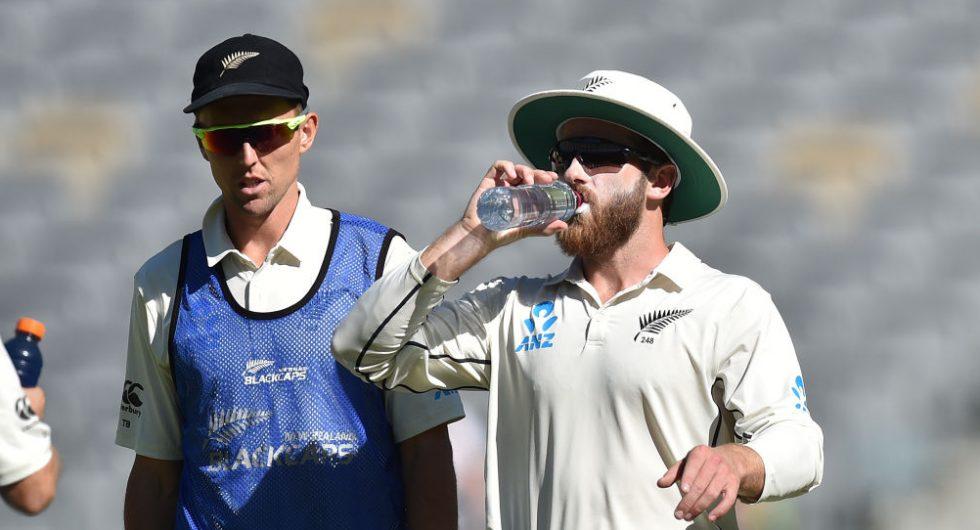 Kane Williamson has a drink to battle the Australian heat