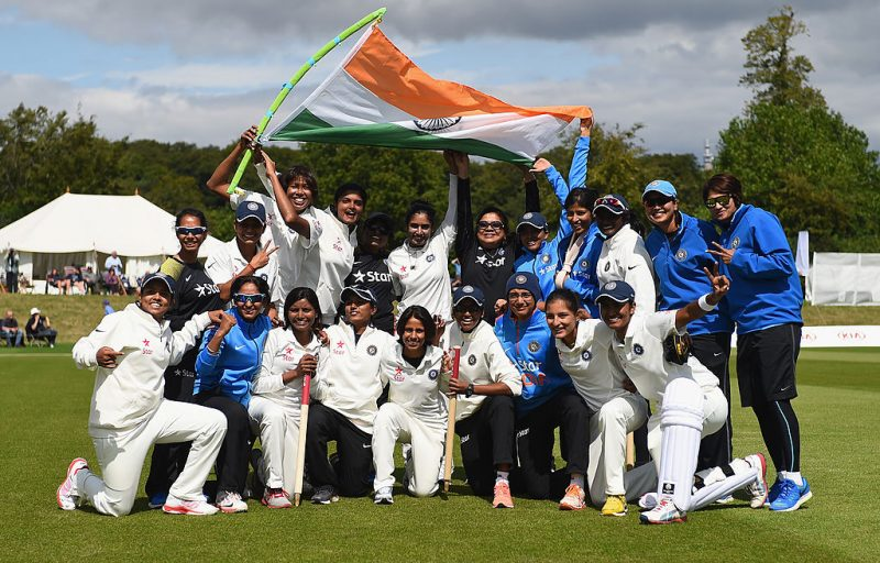 India Women celebrate their win in the Wormsley Test