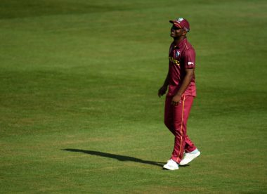 West Indies' Evin Lewis stretchered off after jarring knee during third India T20I