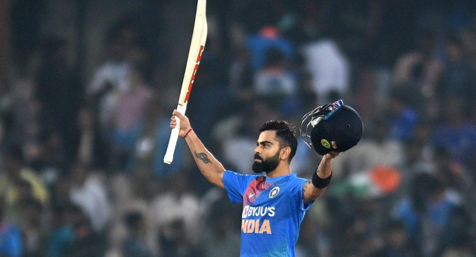 India captain Virat Kohli celebrates after taking India home with a marvellous 50-ball 94*