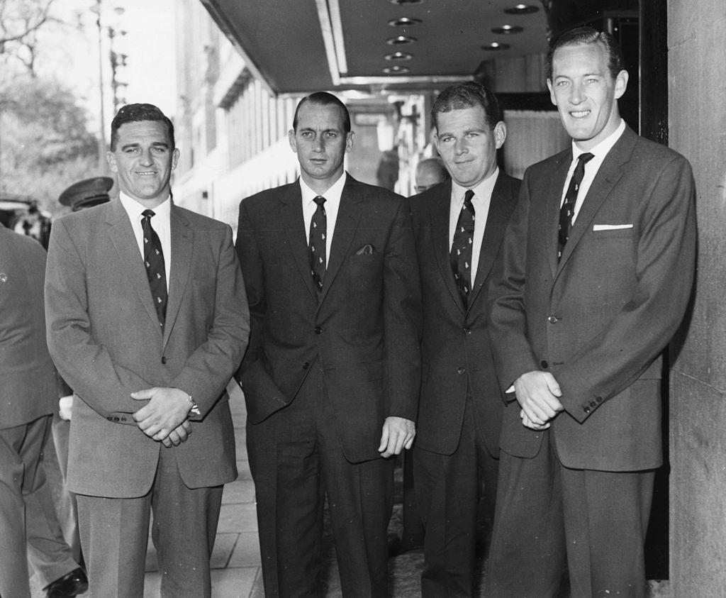 (From L-R) Atholl McKinnon, Hugh Tayfield, Jonathan Fellows-Smith and Neil Adcock in London during South Africa's tour in 1960