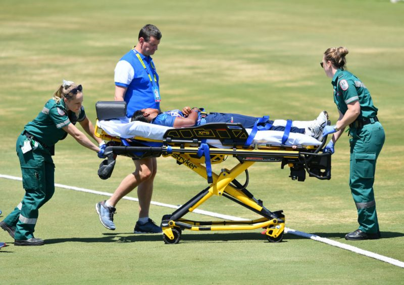 Sri Lanka Women pacer Achini Kulasuriya was knocked out and had to be stretchered off the field