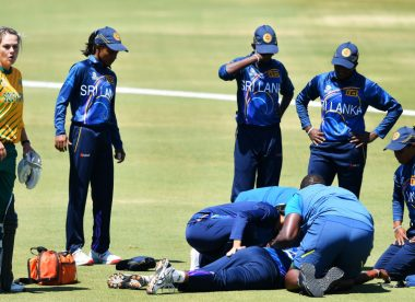 Sri Lanka's Achini Kulasuriya knocked out after fielding mishap in World Cup warm-up